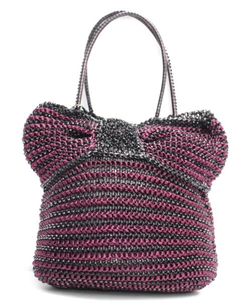 ANTEPRIMA(アンテプリマ)ANTEPRIMA (アンテプリマ) ワイヤートートバッグ ピンク×ブラックの古着・服飾アイテム