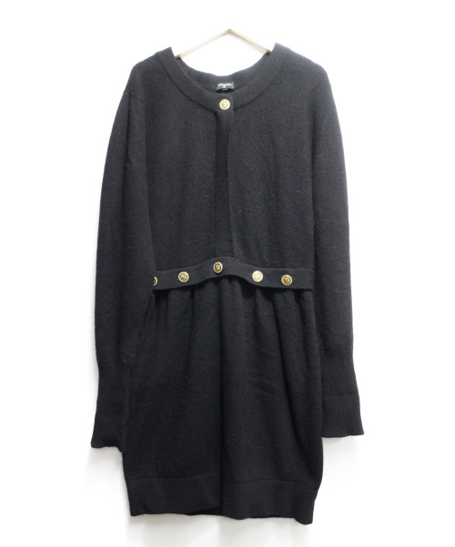 CHANEL(シャネル)CHANEL (シャネル) カシミヤニットワンピース ブラック サイズ:3 クローバーの古着・服飾アイテム