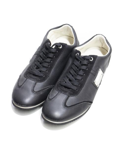 DOLCE & GABBANA(ドルチェアンドガッバーナ)DOLCE & GABBANA (ドルチェアンドガッバーナ) メタルパッチスニーカー ブラック サイズ:7.5の古着・服飾アイテム