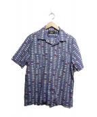 RRL(ダブルアールエル)の古着「フィッシュプリントシアサッカーシャツ」|サックスブルー