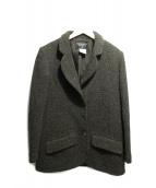 CHANEL(シャネル)の古着「ココマークボタンミックスウールジャケット」|グリーン