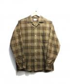 STEVEN ALAN(スティーブンアラン)の古着「BROAD CHECK OPEN COLLAR SHIRT」|ブラウン