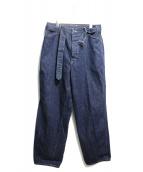 COMOLI(コモリ)の古着「ベルテッドデニムパンツ」|ブルー