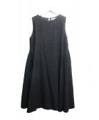 Ordinary fits(オーディナリーフィッツ)の古着「リネン混ノースリーブワンピース」|ブラック