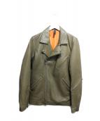 GLAMB(グラム)の古着「ラムレザーライダースジャケット」|カーキ