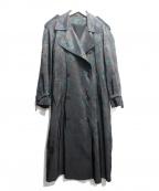 NO BLAND(ノーブランド)の古着「総柄ライナー付ステンカラーコート」 グリーン