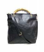 ()の古着「レザーバンブーハンドバッグ」|ブラック