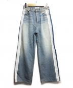 SERGE de bleu(サージ デ ブルー)の古着「ラインペイントワイドデニム」|ブルー