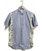 ()の古着「半袖切替シャツ」|ブルー