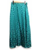 GRACE CONTINENTAL((グレースコンチネンタル)の古着「シルクサテンジャガードスカート」|グリーン
