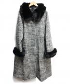 STRAWBERRY FIELDS(ストロベリーフィールズ)の古着「フォックスファー総柄コート」|ブラック