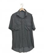 kiryuyrik(キリュウキリュウ)の古着「クロスモチーフ総柄S/Sシャツ」|ブラック