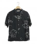 OLD JOE & Co.(オールドアンドジョー)の古着「ORIGINAL PRINTED OPEN COLLAR S」|ブラック