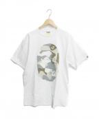 BAPE BY A BATHING APE(ベイプバイアベイシングエイプ)の古着「サルカモプリントTシャツ」|ホワイト