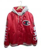 SUPREME×Champion(シュプリーム×チャンピオン)の古着「Hooded Satin Varsity Jacket」|レッド×グレー