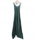 BASERANGE(ベースレンジ)の古着「RAW SILK APRON DRESS」|グリーン