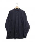 E.TAUTZ(イートーツ)の古着「バンドカラーシャツ」|ネイビー