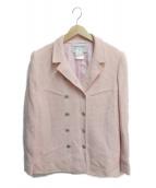 CHANEL(シャネル)の古着「ココマークボタンダブルツイードジャケット」|ピンク