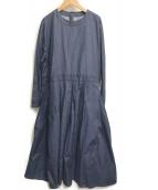 ()の古着「コットン後ろ切替ボックスタックワンピース」|ブルー