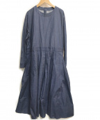 Veritecoeur(ヴェリテクール)の古着「コットン後ろ切替ボックスタックワンピース」|ブルー