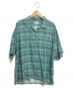 FILL THE BILL(フィルザビル)の古着「Rayon Border Shirts」|グリーン