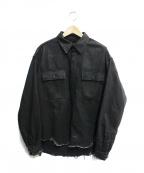 ALMOSTBLACK(オールモストブラック)の古着「BLACK DENIM SHIRT」 ブラック