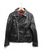 JACKROSE(ジャックローズ)の古着「リップ&タンダブルライダース」 ブラック