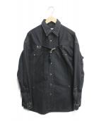 ()の古着「FRONT SIDE BELTED DENIM SHIRT」|ブラック