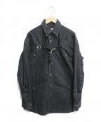 JOHN LAWRENCE SULLIVAN()の古着「FRONT SIDE BELTED DENIM SHIRT」|ブラック