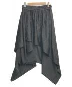 ()の古着「ラップスカート風ドレープサルエルパンツ」|ブラック