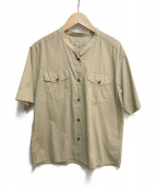 MARGARET HOWELL(マーガレットハウエル)の古着「半袖バンドカラーシャツ」|ベージュ