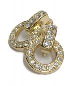 Christian Dior(クリスチャン ディオール)の古着「サークルストーンイヤリング」|ゴールド