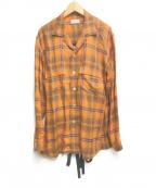 BED J.W. FORD(ベッドフォード)の古着「Inner vest open collar blouse」|オレンジ