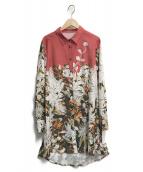 ()の古着「ロングシャツ」|オレンジ×ホワイト
