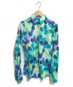 NARA CAMICIE(ナラカミーチェ)の古着「総柄シャツ」 ブルー×グリーン
