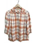 ()の古着「セットアップリネンチェックシャツジャケット」|オレンジ×ホワイト