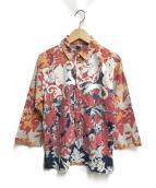 ()の古着「インディゴ染めハイビスカスプリントシャツ」 ブルー×レッド