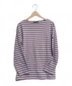 SAINT JAMES(セントジェームス)の古着「バスクシャツ」 グレー×パープル