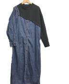 AULA(アウラ)の古着「オフショルカットオンデニムワンピース」|ブラック×インディゴ