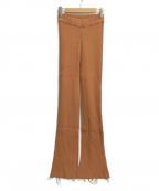 PERVERZE(パーバーズ)の古着「フレアリブパンツ」|ブラウン