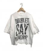 doublet(ダブレット)の古着「COMPRESSED SLOGAN T-SHIRT」 ホワイト×ブラック