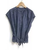 ()の古着「コットンシルクローン フレンチスリーブブラウス」|ネイビー