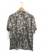 roar(ロアー)の古着「バックプリント総柄オープンカラーシャツ」|グレー×グリーン