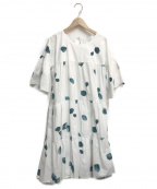 merlette(マーレット)の古着「Germain watercolour-print tier」 ホワイト×グリーン