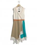 LOVELESS(ラブレス)の古着「アシンメトリーカラーブロックドレス」|アイボリー×グリーン