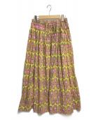 ()の古着「Batik Long Sk」 イエロー×ピンク