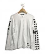 BLACK COMME des GARCONS(ブラックコムデギャルソン)の古着「袖ドットロゴプリントL/S T」 ホワイト