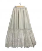 GRACE CONTINENTAL(グレースコンチネンタル)の古着「シルク混切替ロングスカート」 ベージュ