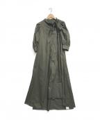 CASA FLINE(カーサフライン)の古着「サイドボータイロングドレス」|カーキ