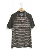 ()の古着「ネイティブ柄ニットポロシャツ」 ブラウン×ホワイト